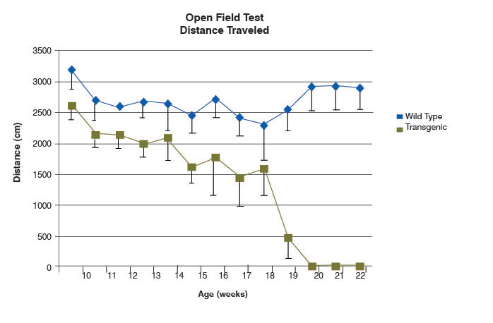 graph of open field test distance traveled in SOD1 and wild-type mice