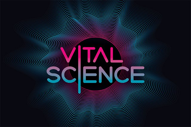 The Vital Science podcast episode 00 logo depicts a graphic rendering of a sound wave with a blue to pink gradient.