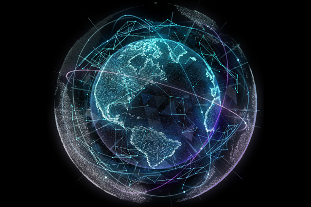 artist's rendering of the earth on a black background, with lines across continents and oceans signifying movement