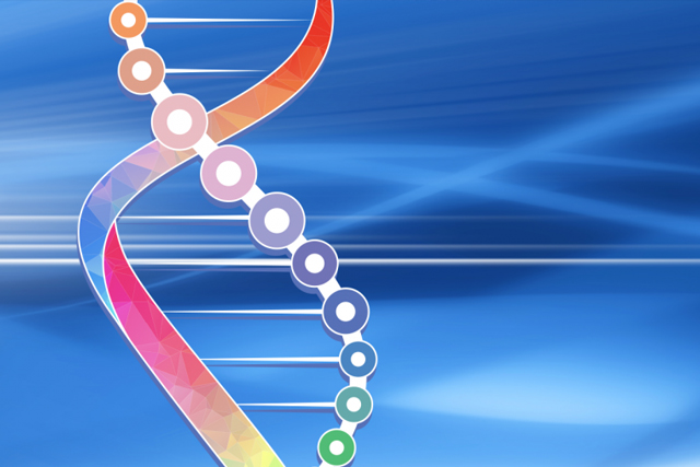 Digital image of DNA strands on a blue background.