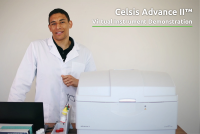 Lab technician demonstrating Celsis Advance II System