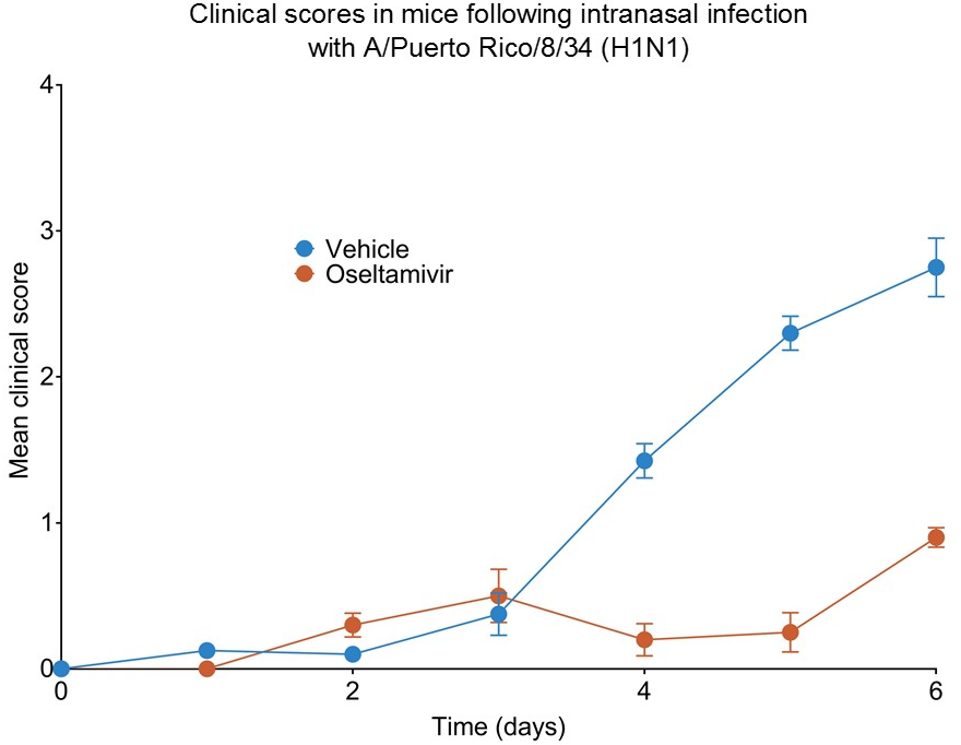 Clinical scores in mice following intranasal infection with A/Puerto Rico/8/34 (H1N1)