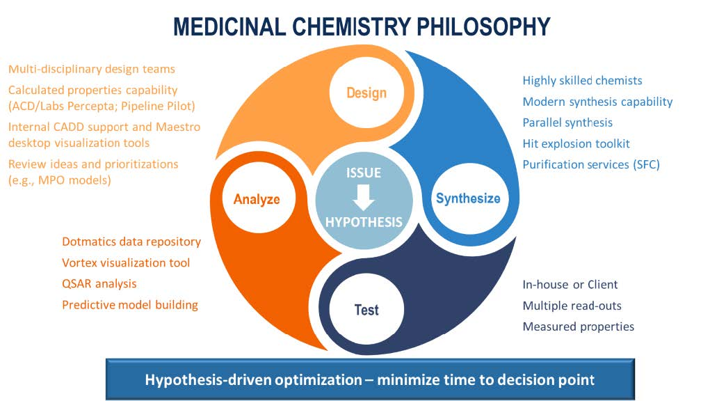 Reduce the overall cycle time of medicinal chemistry services when a  hypothesis-driven optimization process is in place by developing a hypotheses to overcome issues and then interrogating these hypotheses in a design, synthesize, test and analyze cycle.