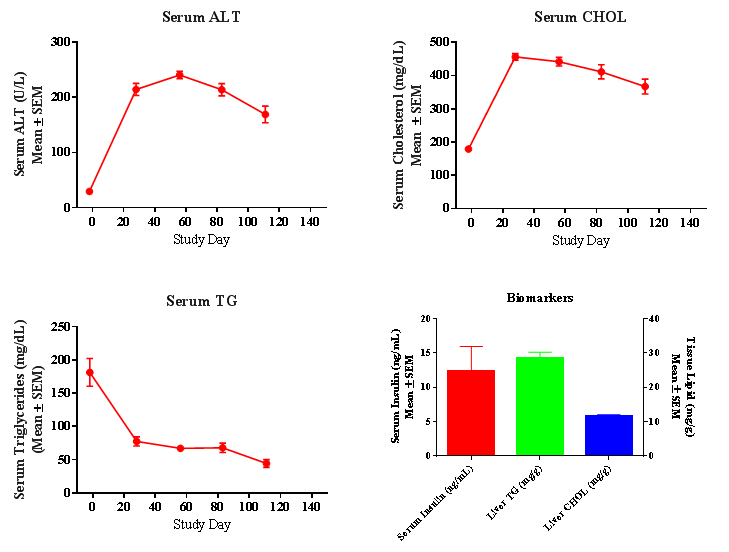 Chart showing biomarker profile at several timepoints over the course of an 18-wk study
