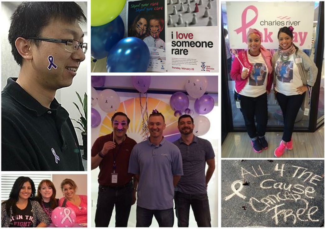 collage of Charles River employees participating in on-site activities for World Alzheimer's Day and National Breast Cancer Awareness month